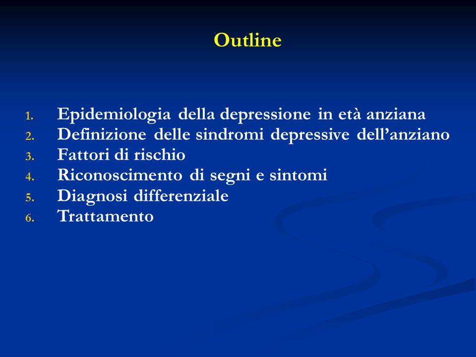 Outline Epidemiologia della depressione in età anziana