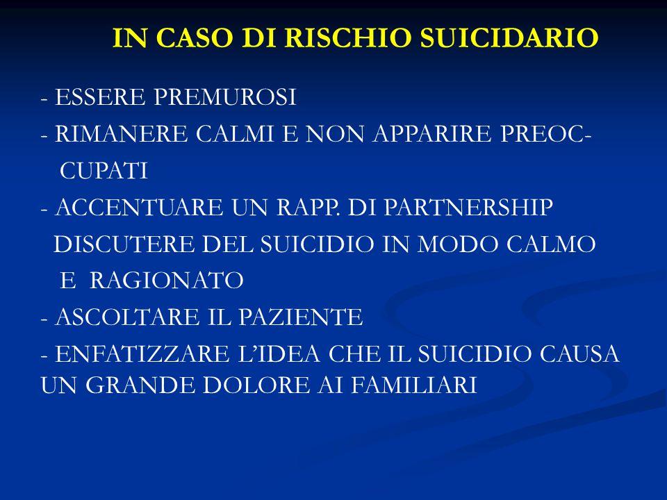 IN CASO DI RISCHIO SUICIDARIO