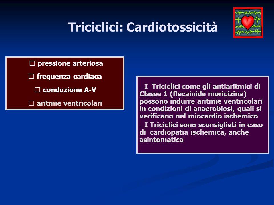 Triciclici: Cardiotossicità  aritmie ventricolari