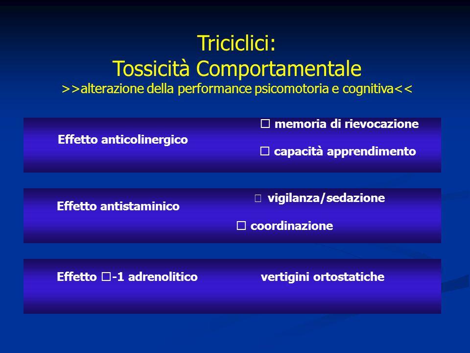 4646 Triciclici: Tossicità Comportamentale >>alterazione della performance psicomotoria e cognitiva<<