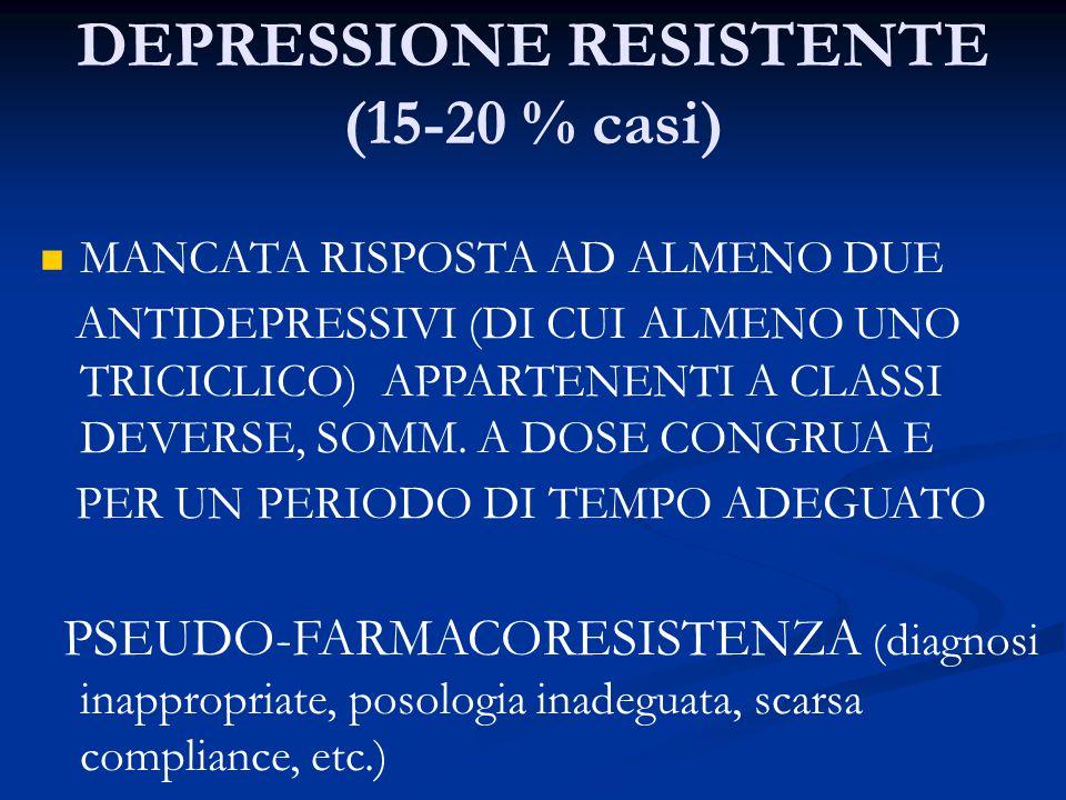 DEPRESSIONE RESISTENTE (15-20 % casi)