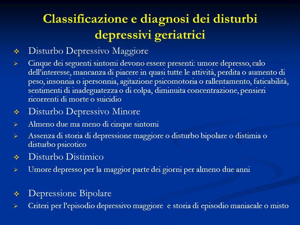 Classificazione e diagnosi dei disturbi depressivi geriatrici