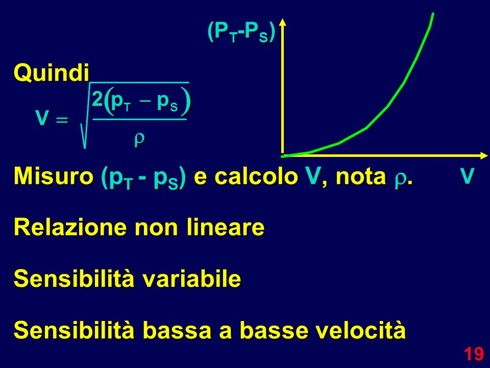   Quindi Misuro (pT - pS) e calcolo V, nota . Relazione non lineare