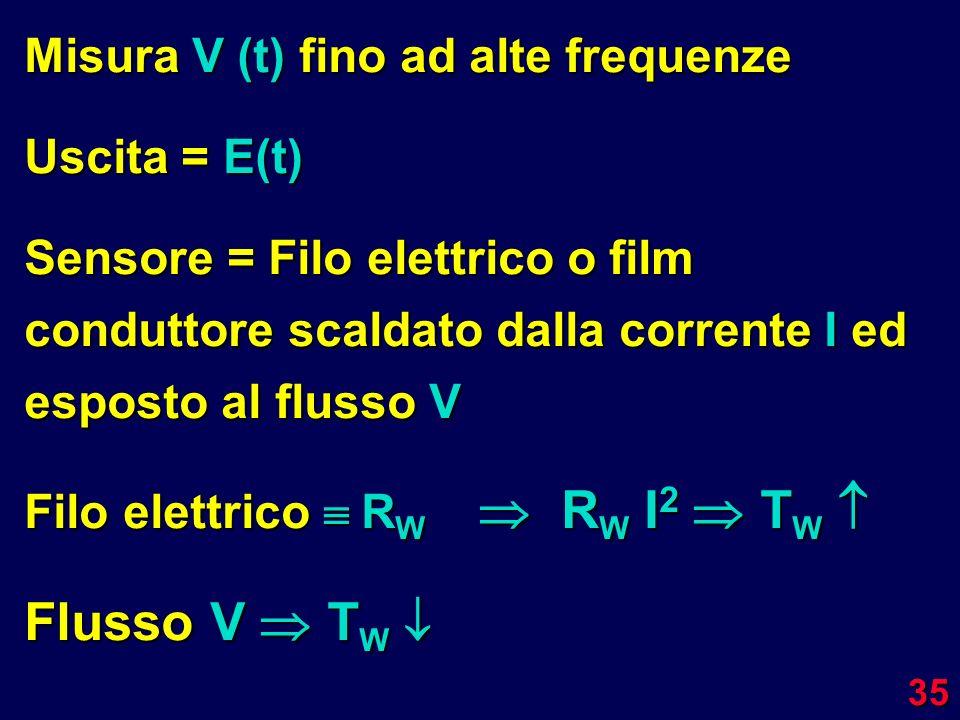 Flusso V  TW Misura V (t) fino ad alte frequenze Uscita = E(t)