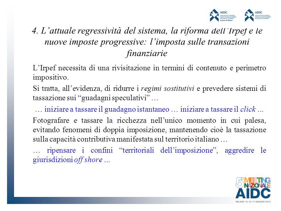 4. L'attuale regressività del sistema, la riforma dell'Irpef e le nuove imposte progressive: l'imposta sulle transazioni finanziarie
