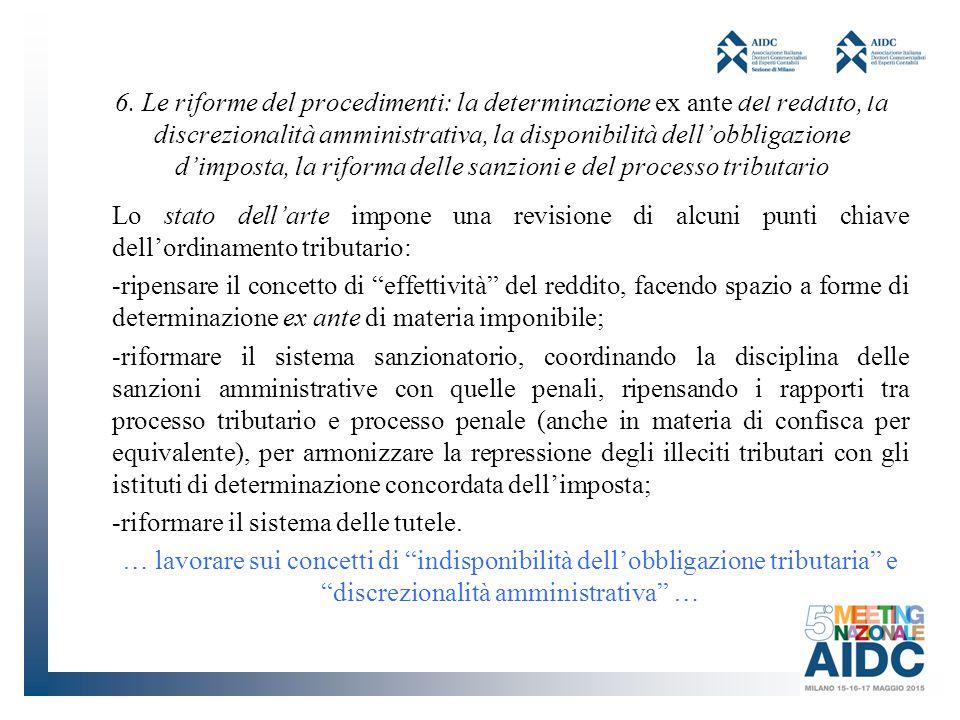 6. Le riforme del procedimenti: la determinazione ex ante del reddito, la discrezionalità amministrativa, la disponibilità dell'obbligazione d'imposta, la riforma delle sanzioni e del processo tributario