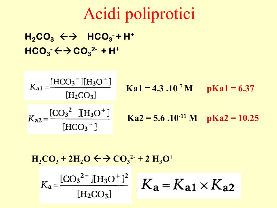 Acidi poliprotici H2CO3  HCO3- + H+ HCO3-  CO32- + H+