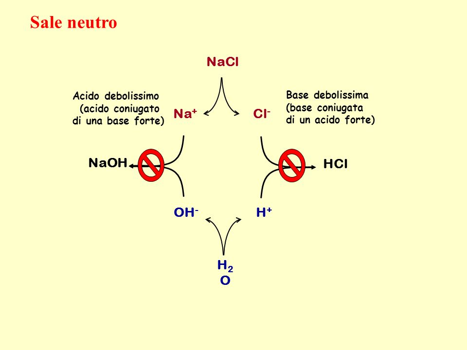 Sale neutro NaCl Na+ Cl- NaOH HCl OH- H+ H2O Acido debolissimo
