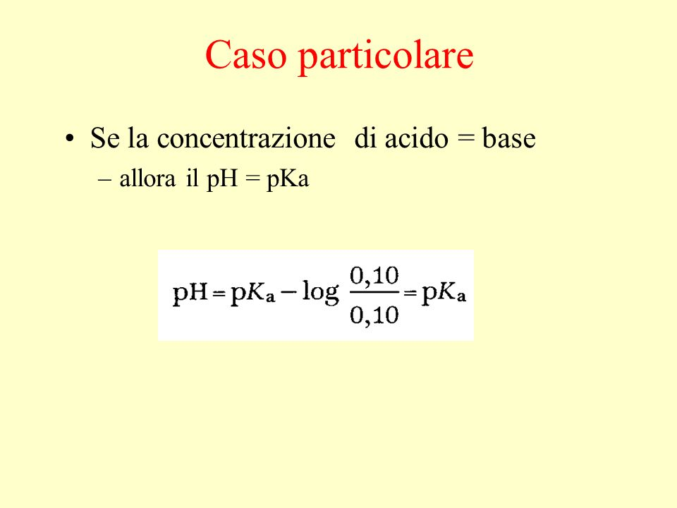Caso particolare Se la concentrazione di acido = base