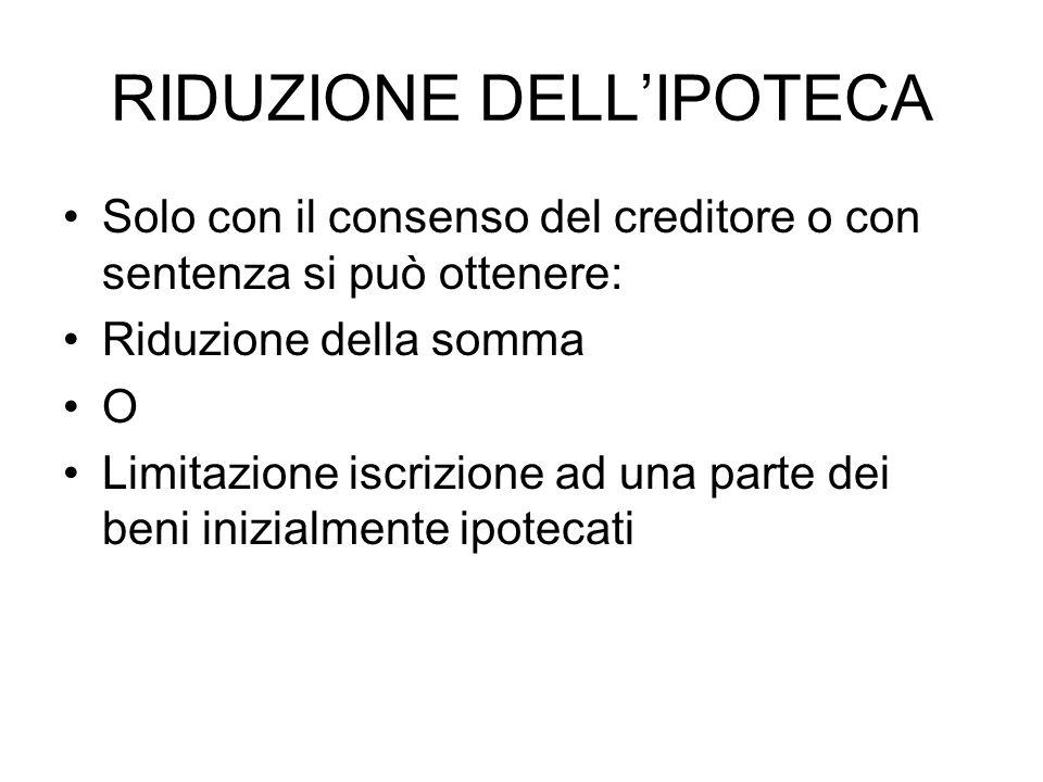 RIDUZIONE DELL'IPOTECA