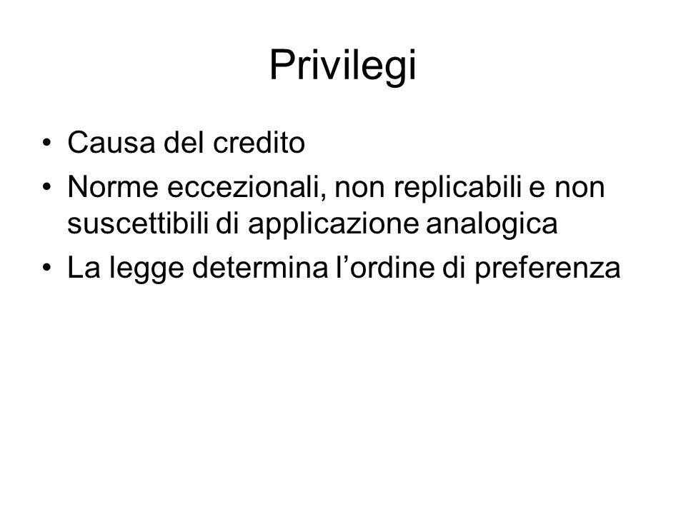 Privilegi Causa del credito