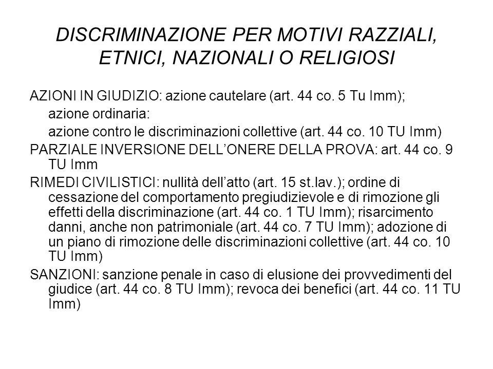 DISCRIMINAZIONE PER MOTIVI RAZZIALI, ETNICI, NAZIONALI O RELIGIOSI