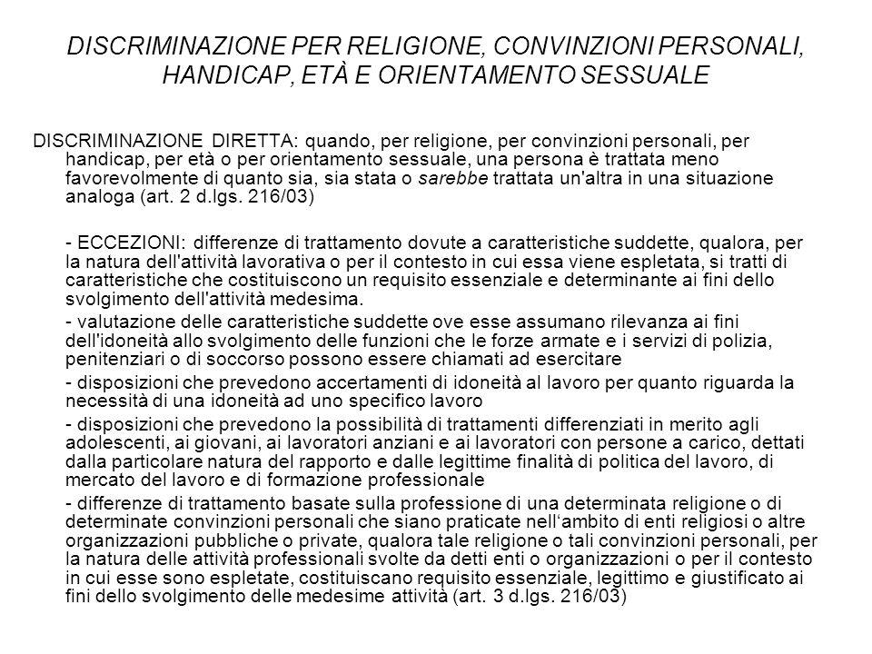 DISCRIMINAZIONE PER RELIGIONE, CONVINZIONI PERSONALI, HANDICAP, ETÀ E ORIENTAMENTO SESSUALE
