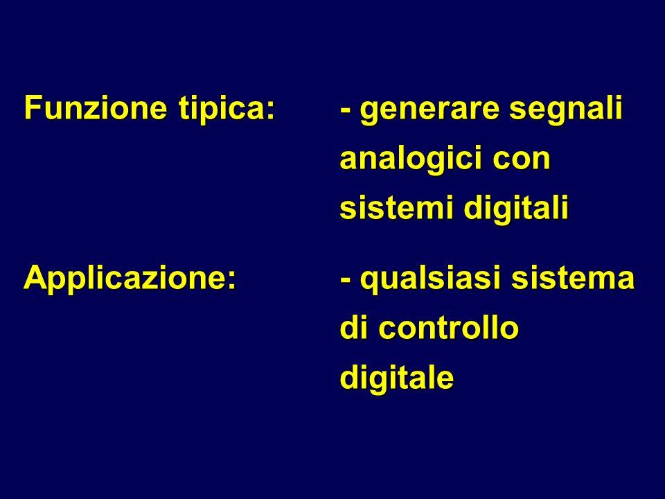 Funzione tipica: - generare segnali analogici con sistemi digitali
