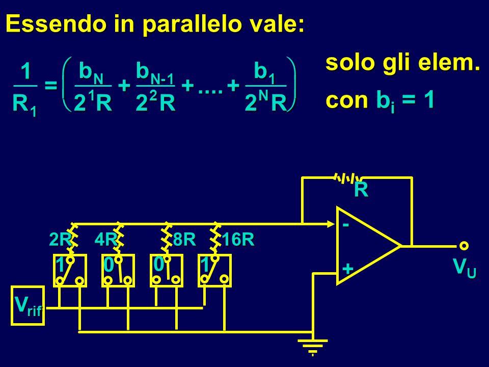 Essendo in parallelo vale: solo gli elem. con bi = 1