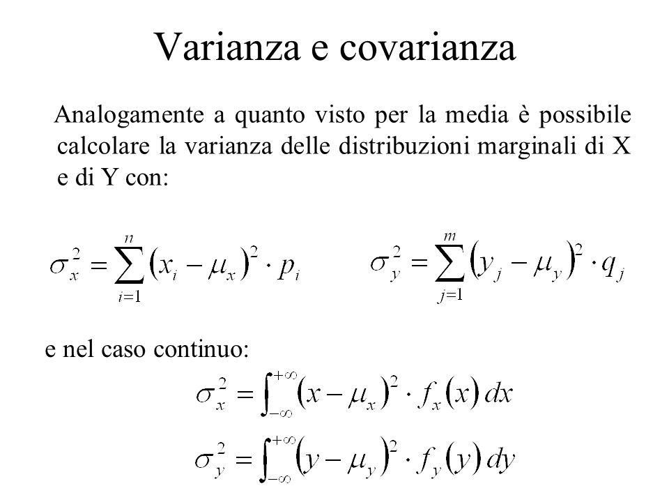 Varianza e covarianza Analogamente a quanto visto per la media è possibile calcolare la varianza delle distribuzioni marginali di X e di Y con: