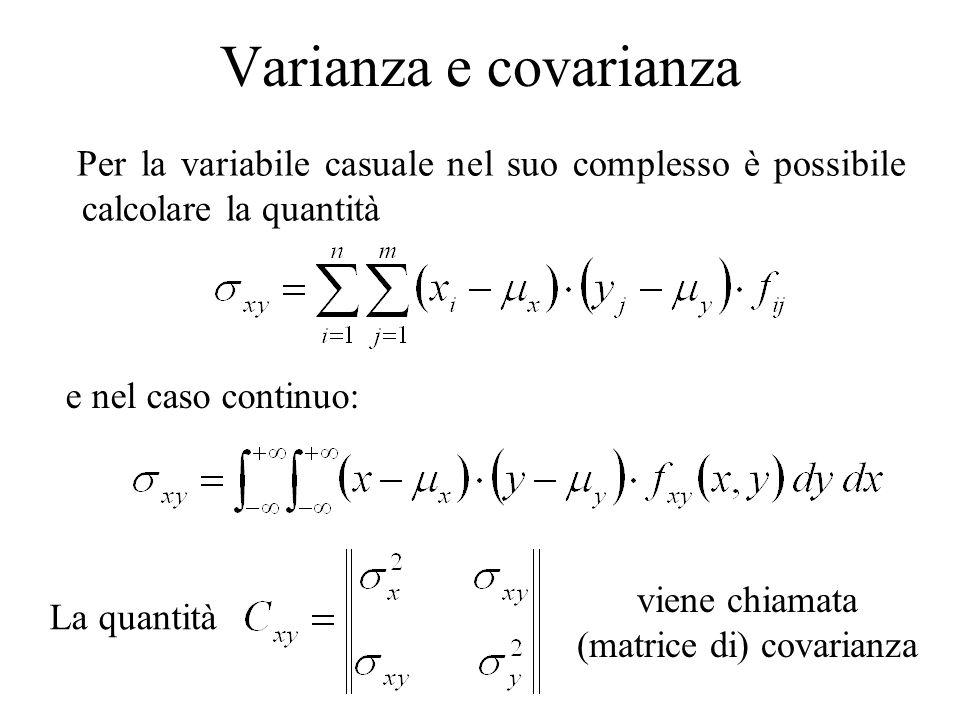 (matrice di) covarianza