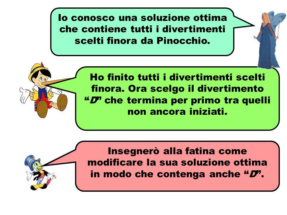 Io conosco una soluzione ottima che contiene tutti i divertimenti scelti finora da Pinocchio.