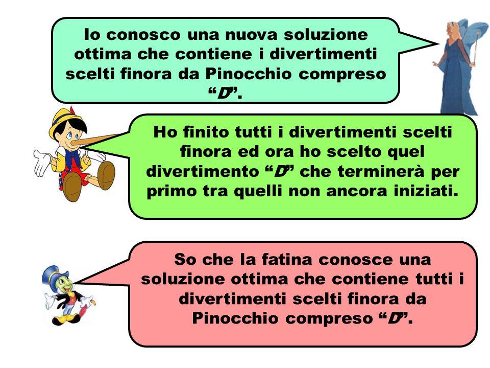 Io conosco una nuova soluzione ottima che contiene i divertimenti scelti finora da Pinocchio compreso D .