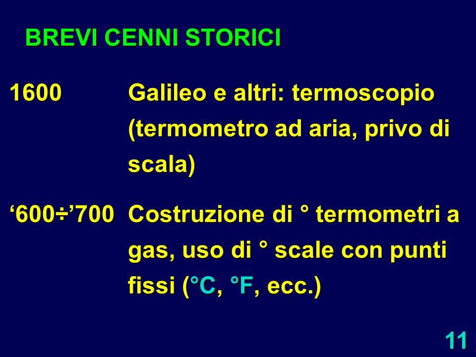 BREVI CENNI STORICI 1600 Galileo e altri: termoscopio (termometro ad aria, privo di scala)