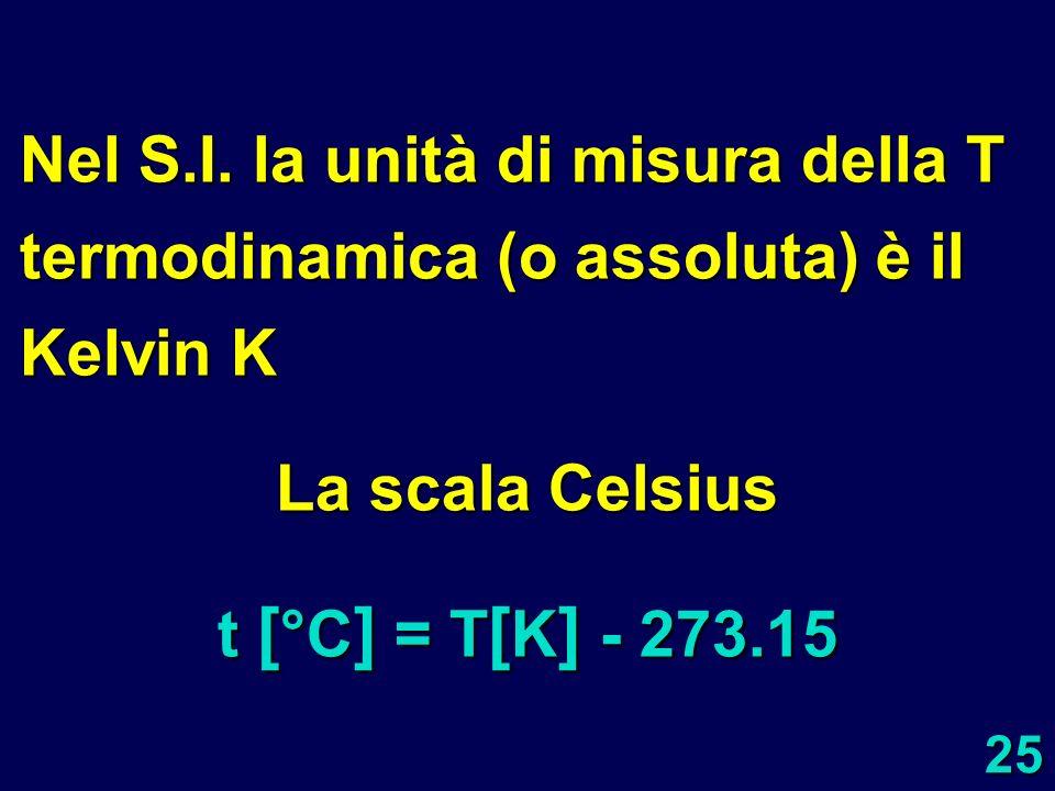 Nel S.I. la unità di misura della T termodinamica (o assoluta) è il Kelvin K