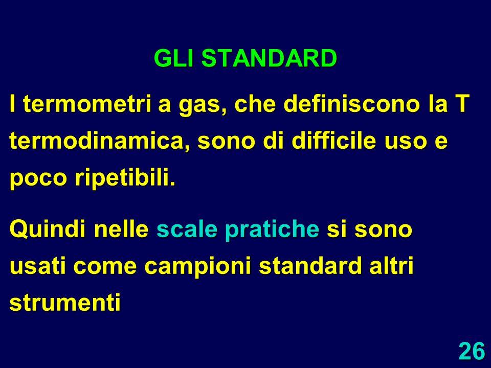 GLI STANDARD I termometri a gas, che definiscono la T termodinamica, sono di difficile uso e poco ripetibili.
