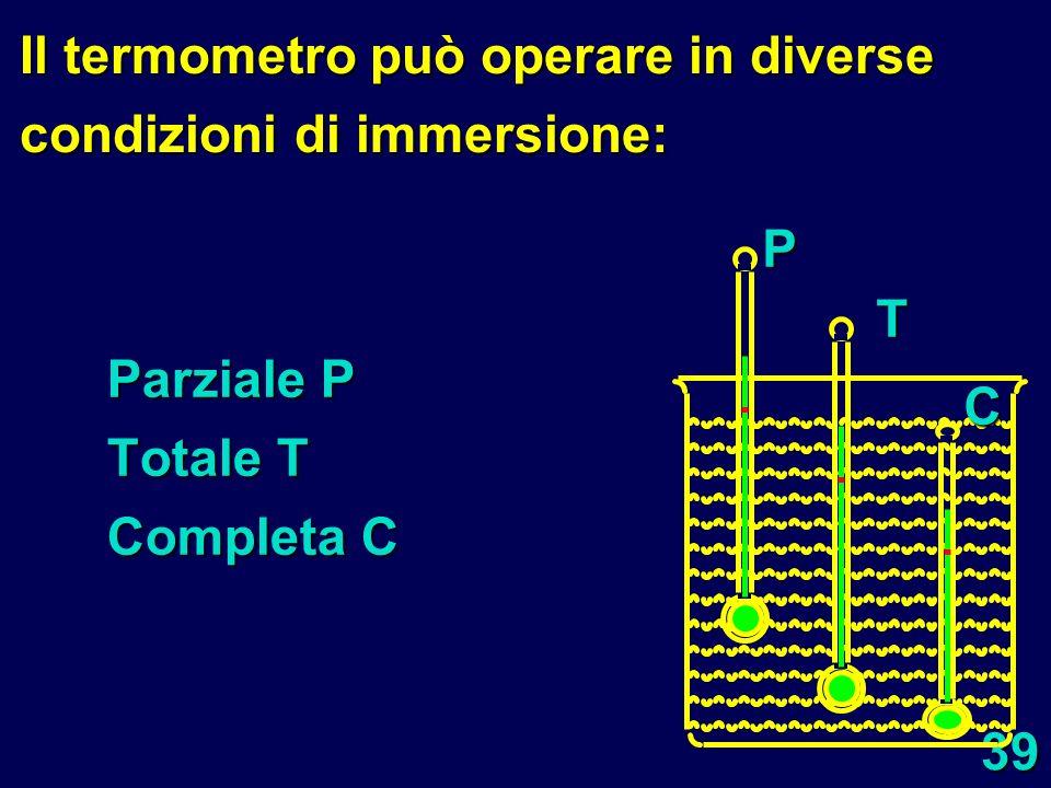 Il termometro può operare in diverse condizioni di immersione: