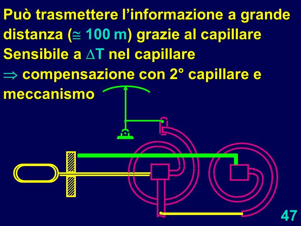Può trasmettere l'informazione a grande distanza (100 m) grazie al capillare Sensibile a T nel capillare compensazione con 2° capillare e meccanismo