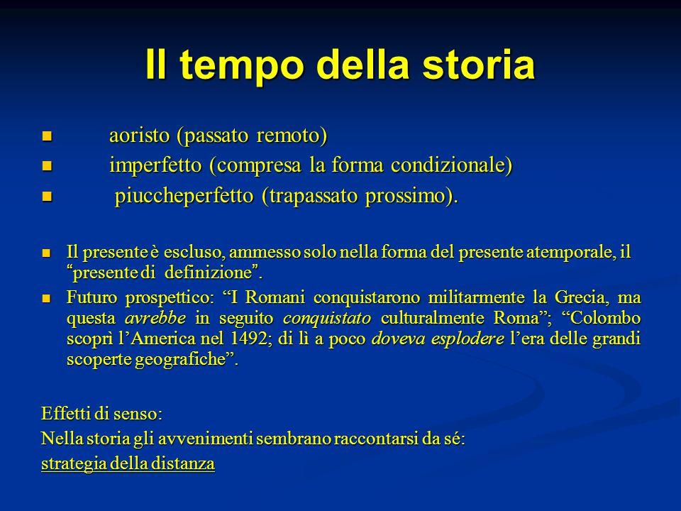 Il tempo della storia aoristo (passato remoto)