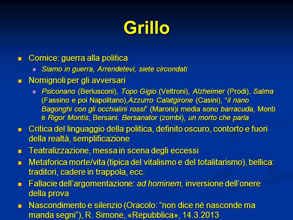 Grillo Cornice: guerra alla politica Nomignoli per gli avversari