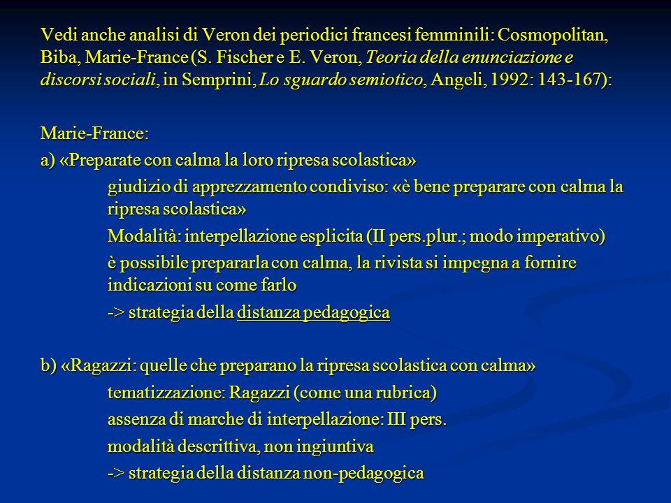 Vedi anche analisi di Veron dei periodici francesi femminili: Cosmopolitan, Biba, Marie-France (S.