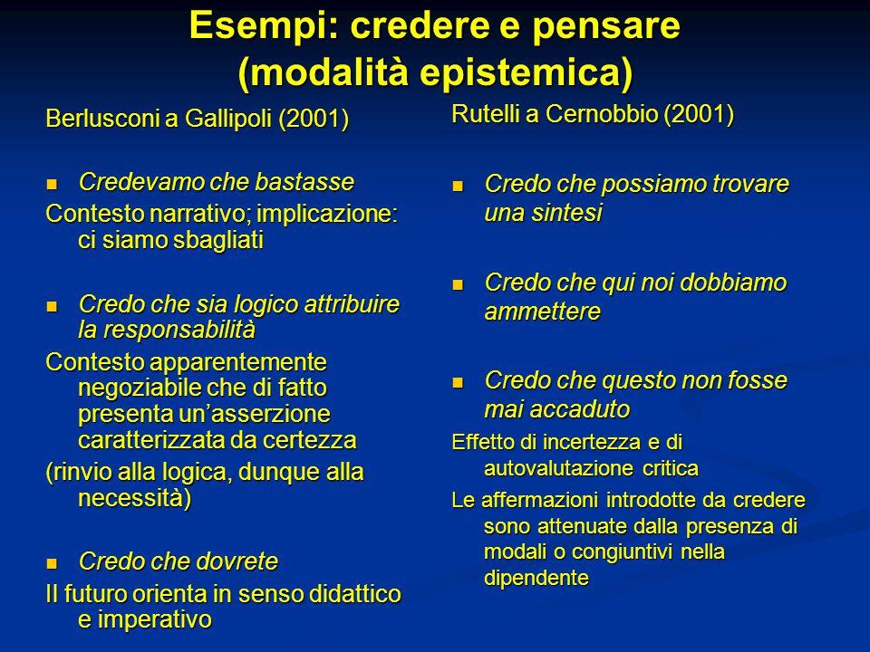 Esempi: credere e pensare (modalità epistemica)