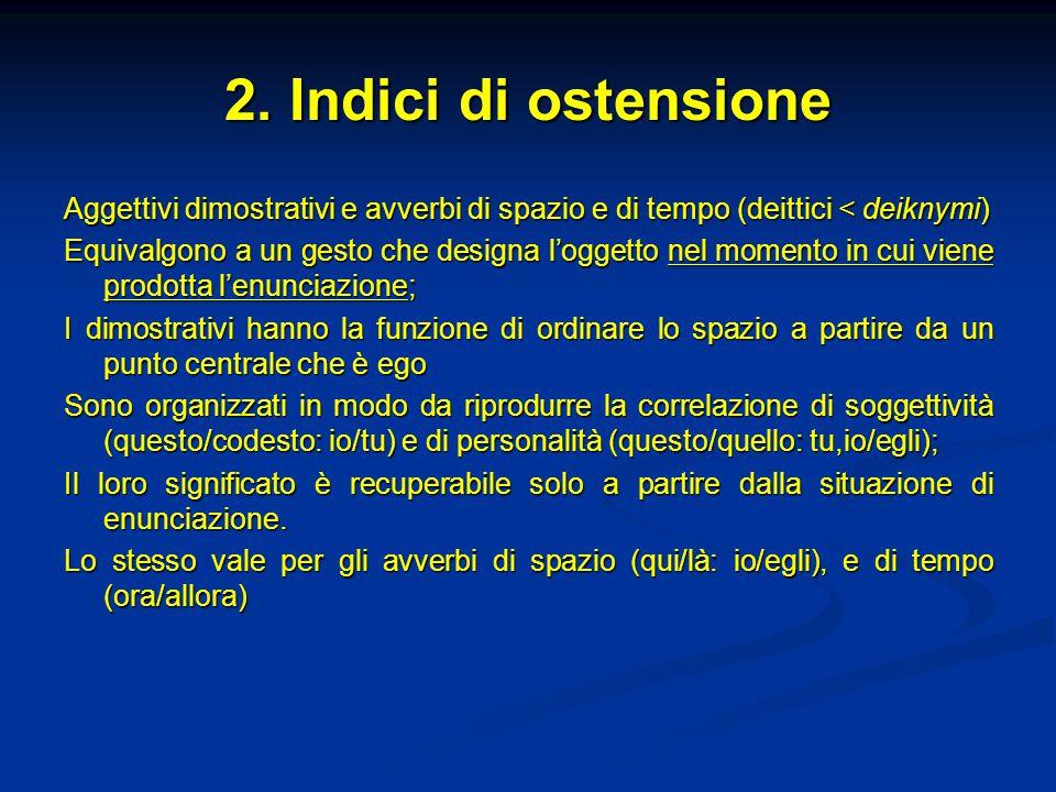 2. Indici di ostensione Aggettivi dimostrativi e avverbi di spazio e di tempo (deittici < deiknymi)