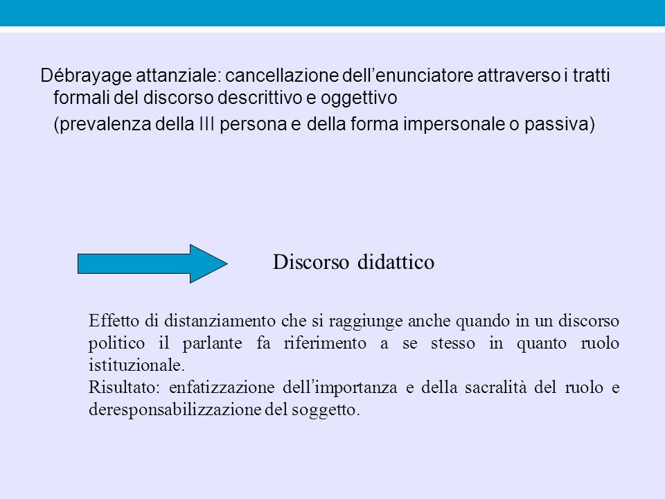 Débrayage attanziale: cancellazione dell'enunciatore attraverso i tratti formali del discorso descrittivo e oggettivo
