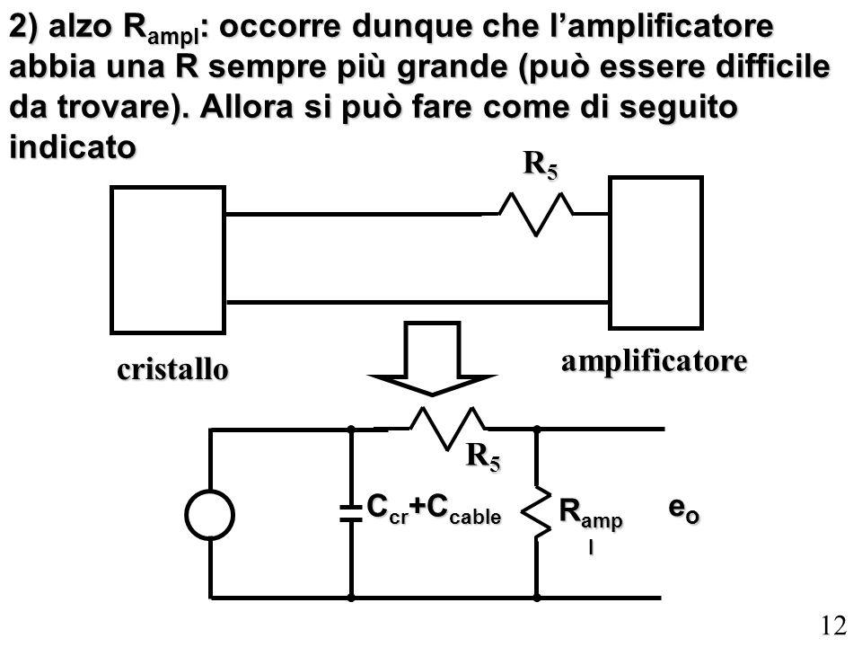 2) alzo Rampl: occorre dunque che l'amplificatore abbia una R sempre più grande (può essere difficile da trovare). Allora si può fare come di seguito indicato