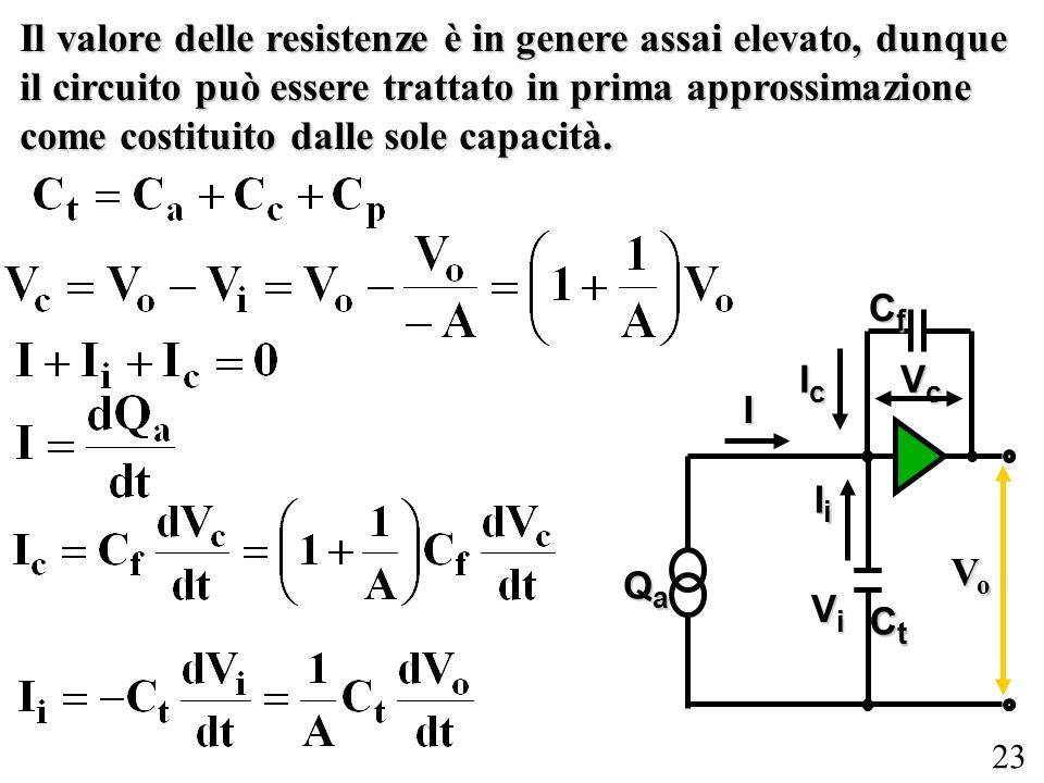 Il valore delle resistenze è in genere assai elevato, dunque il circuito può essere trattato in prima approssimazione come costituito dalle sole capacità.