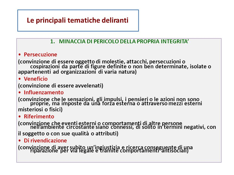 1. MINACCIA DI PERICOLO DELLA PROPRIA INTEGRITA'
