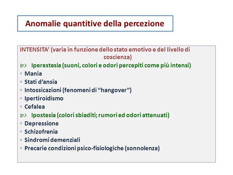 coscienza) Anomalie quantitive della percezione