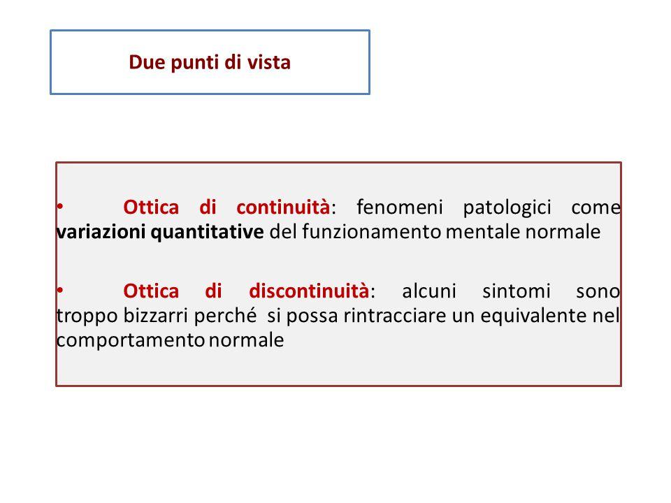 Due punti di vista • Ottica di continuità: fenomeni patologici come variazioni quantitative del funzionamento mentale normale.
