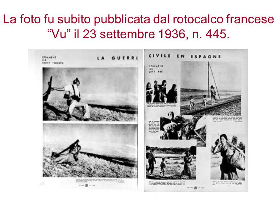 La foto fu subito pubblicata dal rotocalco francese Vu il 23 settembre 1936, n. 445.