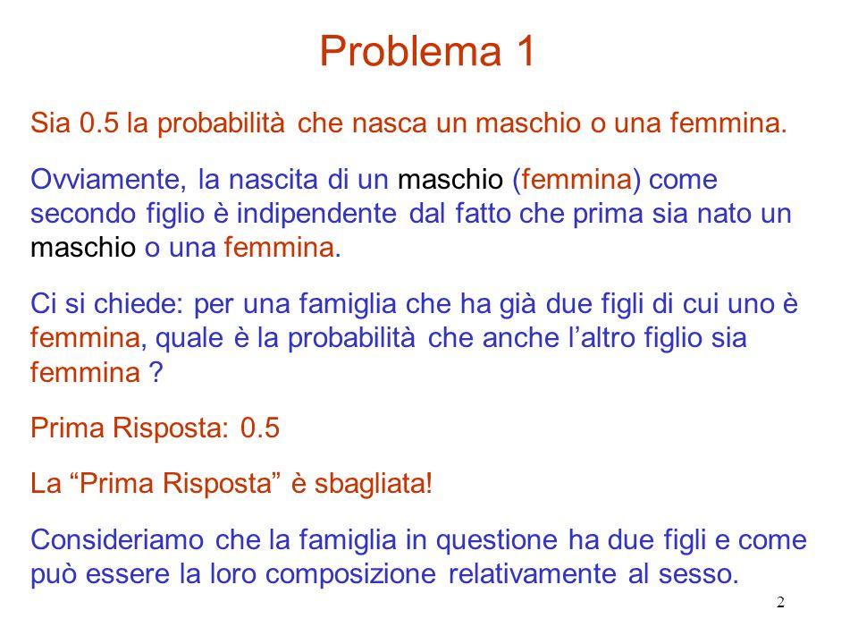Problema 1 Sia 0.5 la probabilità che nasca un maschio o una femmina.