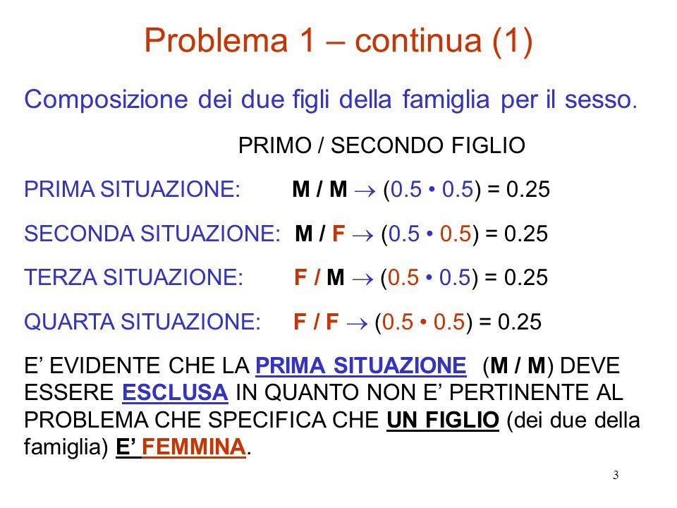 Problema 1 – continua (1) Composizione dei due figli della famiglia per il sesso. PRIMO / SECONDO FIGLIO.