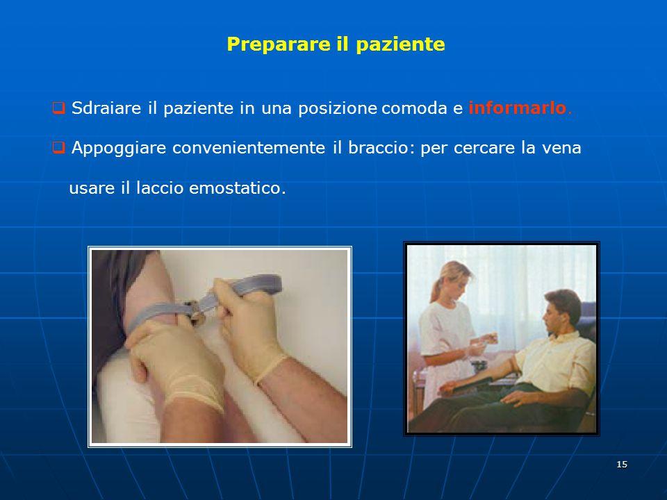 Preparare il paziente Sdraiare il paziente in una posizione comoda e informarlo. Appoggiare convenientemente il braccio: per cercare la vena.