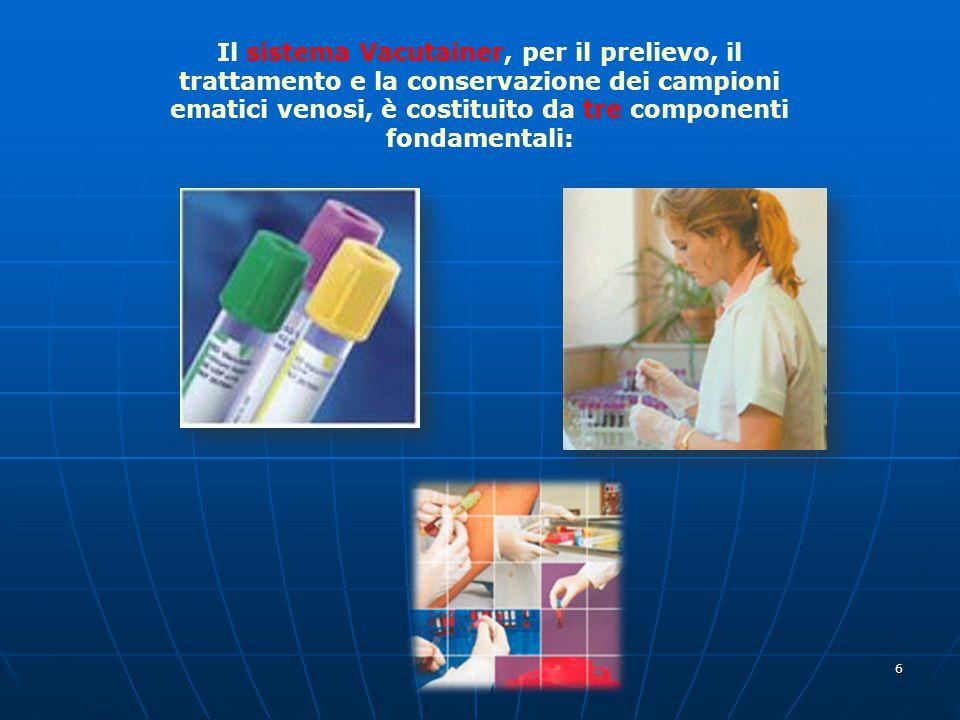 Il sistema Vacutainer, per il prelievo, il trattamento e la conservazione dei campioni ematici venosi, è costituito da tre componenti fondamentali: