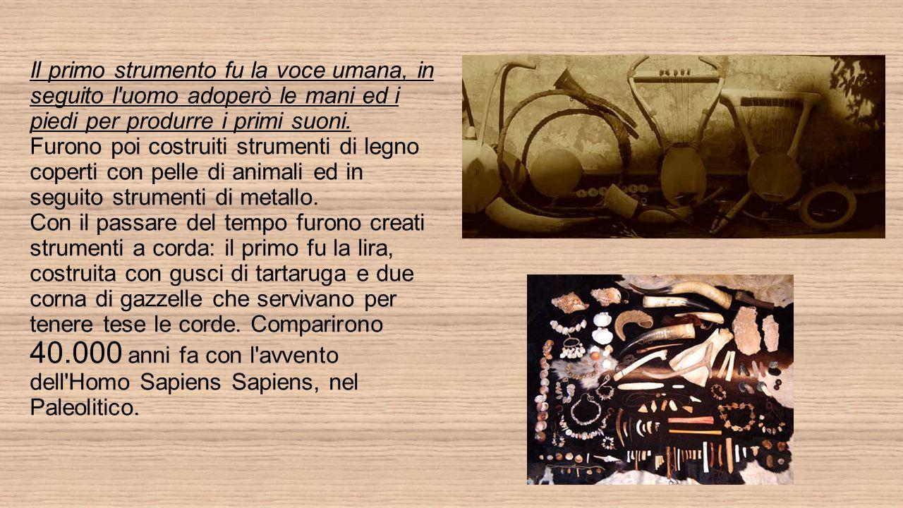 Il primo strumento fu la voce umana, in seguito l uomo adoperò le mani ed i piedi per produrre i primi suoni.