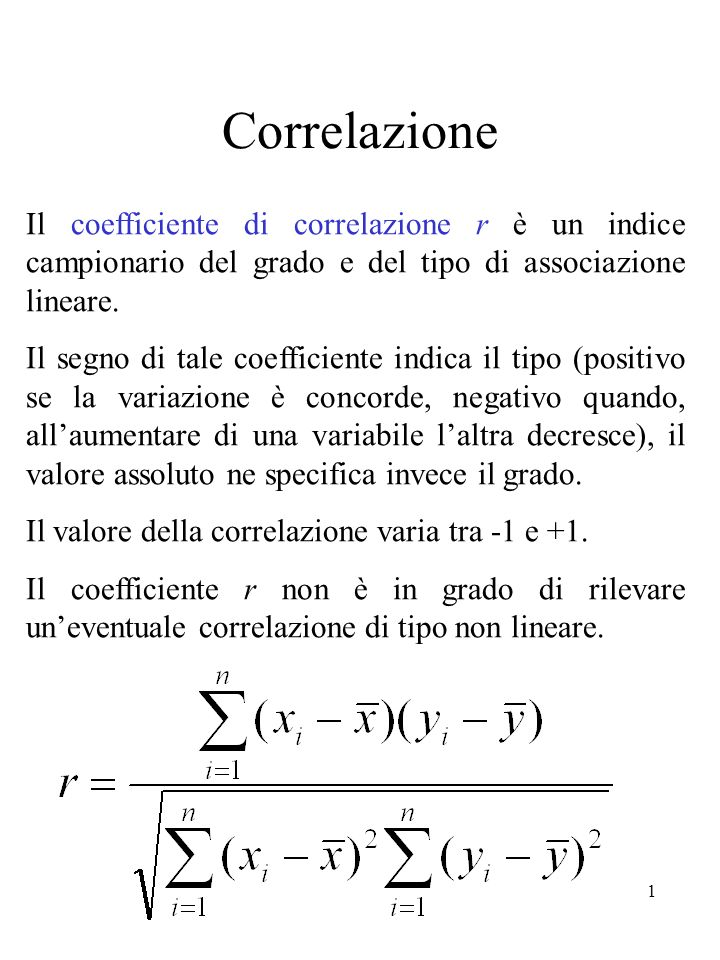 Correlazione Il coefficiente di correlazione r è un indice campionario del grado e del tipo di associazione lineare.