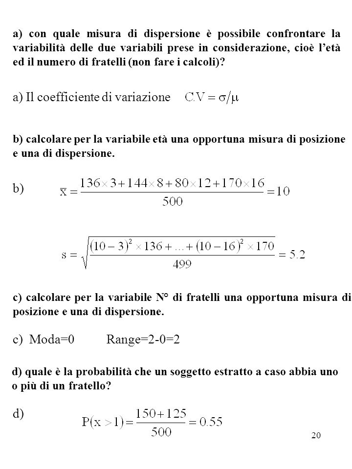a) Il coefficiente di variazione