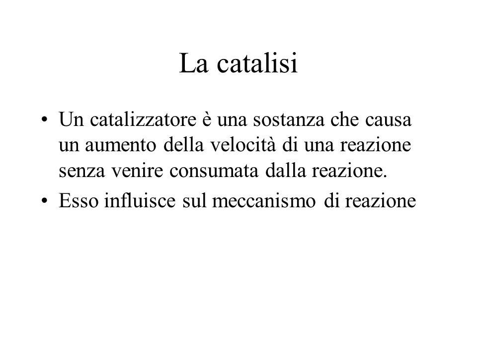 La catalisi Un catalizzatore è una sostanza che causa un aumento della velocità di una reazione senza venire consumata dalla reazione.