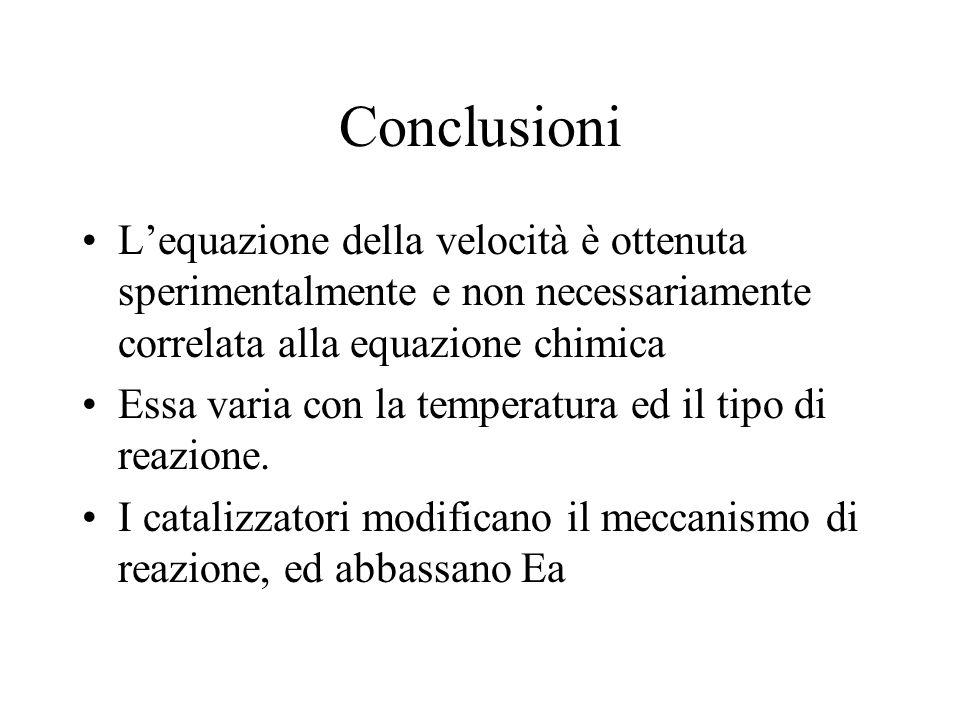 Conclusioni L'equazione della velocità è ottenuta sperimentalmente e non necessariamente correlata alla equazione chimica.