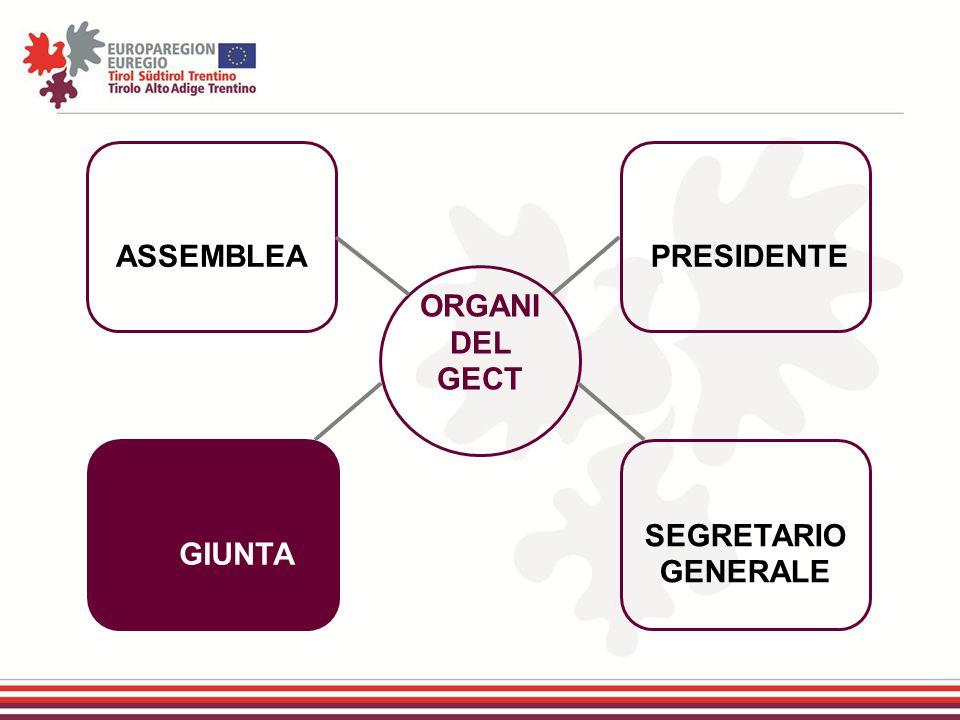 ASSEMBLEA PRESIDENTE ORGANI DEL GECT GIUNTA SEGRETARIO GENERALE